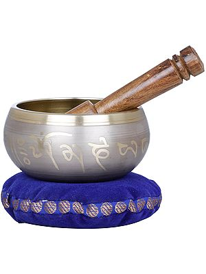 Tibetan Buddhist singing Bowl with Image of Earth Touching Buddha
