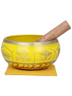 Tibetan Buddhist OM Singing Bowl with Five Dhyani Buddhas Cushion