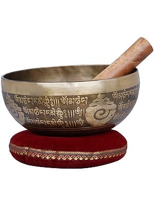 Tibetan Buddhist Vishva-Vajra Singing Bowl Fully Engraved with Mantras