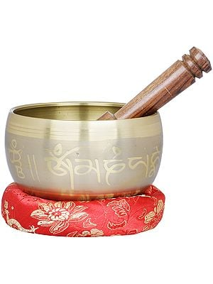 Singing Bowl Carved with Auspicous Mantras and Five Dhyani Buddhas