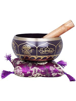 Tibetan Buddhist Singing Bowl in Purple Hue