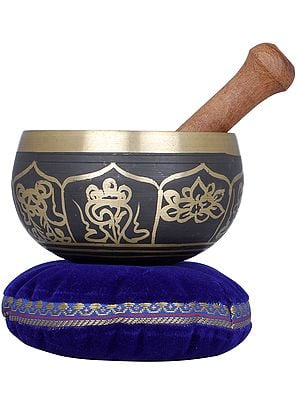Golden Black Ashtamangala Singing Bowl - Tibetan Buddhist