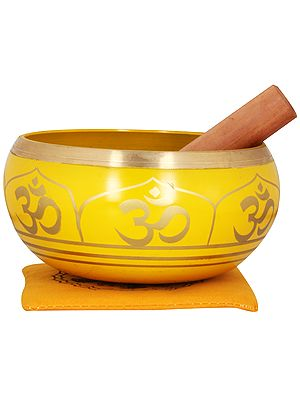 Tibetan Buddhist Singing Bowl in Yellow Hue