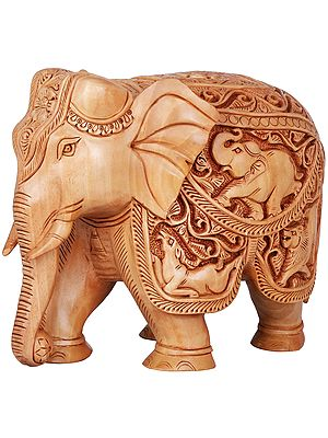 Fully Carved Wooden Elephant
