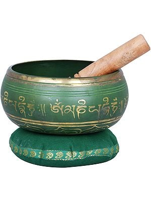 Singing Bowl Engraved with Tibetan Buddhist Mantras