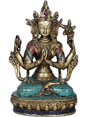 Seated Bodhisattva Chenrezig With The Wish-Fulfilling Jewel