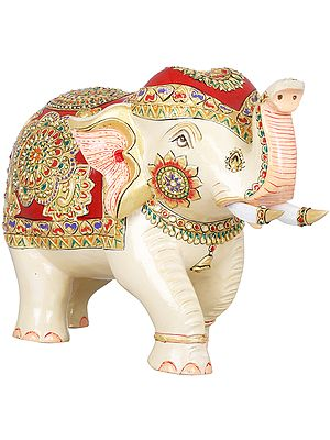 Decorated Elephant with Upraised Trunk (Auspicious According to Vastu)