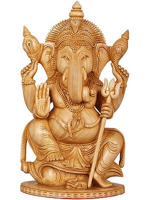 Lord Ganesha with Spiralled Tusk Seated on a Conch