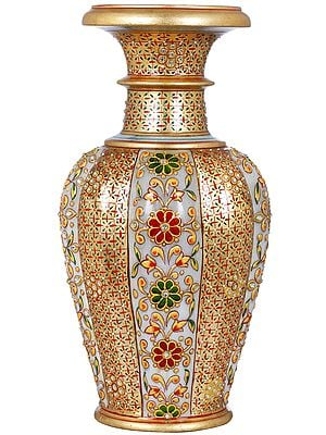 Colorfully Decorated Marble Flower Vase