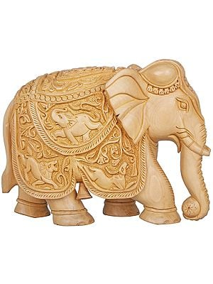 Elephant, Saddle Carved with Various Animal Figures