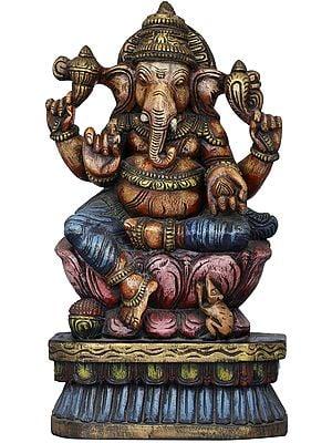 Ganesha on his Lotus Throne