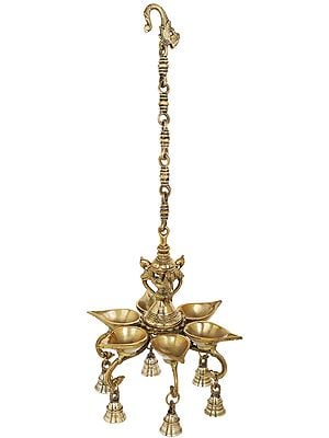 Roof Hanging Six Wicks Lamp with Bells