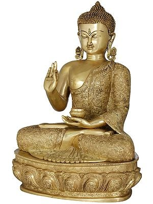 Lotus Seated Lord Buddha in Preaching Mudra