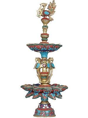 Peacock Inlay Lamp