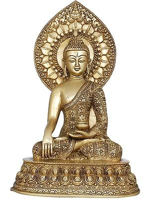 Shakyamuni Buddha with Large Lotus Petals Aureole - Tibetan Buddhist