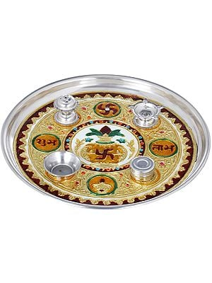 Puja Thali with Attached Diya, Agarbatti Stand, Kumkum Box and a Bowl