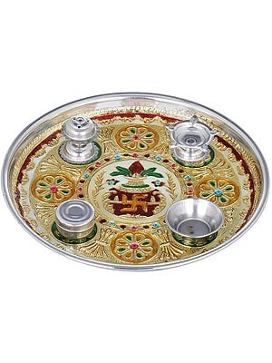 Small Puja Thali with Attached Puja Vessels