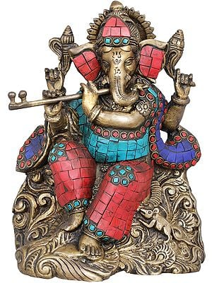The Musician Ganesha Playing on Flute