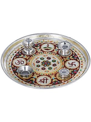 OM Shree Puja Thali with Attached Puja Vessels