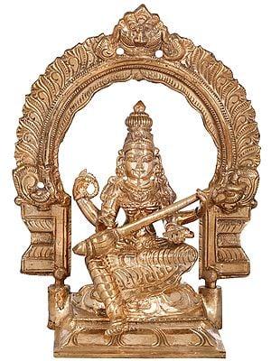 Padmasana Devi Sarasvati (Kirtimukha Aureole)