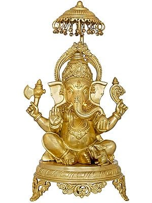 Ganesha Seated on Royal Chowki with Parasol