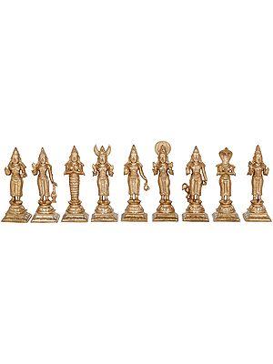 Navagrahas: Nine Planetary Gods - Surya, Chandra, Mangal, Budha, Brihaspati, Shukra, Shani, Rahu and Ketu
