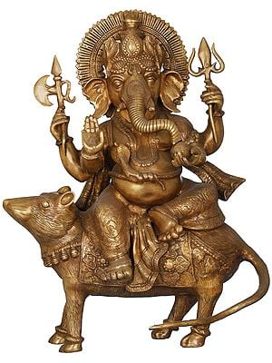 Ganesha Seated on His Rat Wearing a Leafy Crown