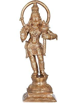 Standing Hanuman, His Long Tail Making His Halo