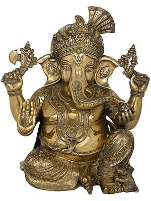 Beturbaned Lord Ganesha, Seated On The Floor