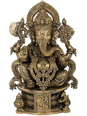 Bejewelled Shri Ganesha Seated on OM Base