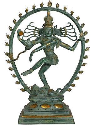 Nataraja in Green and Golden Hue
