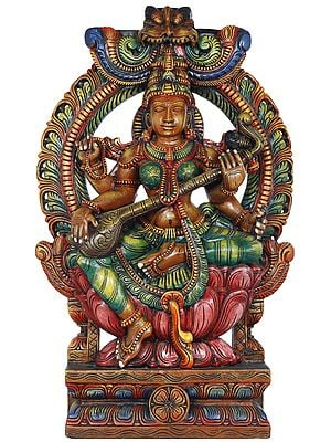 Goddess Saraswati Seated on Lotus