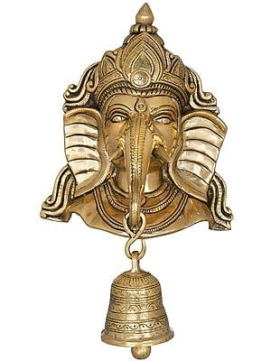 Lord Ganesha Mask Wall-Hanging With Engraved Bell