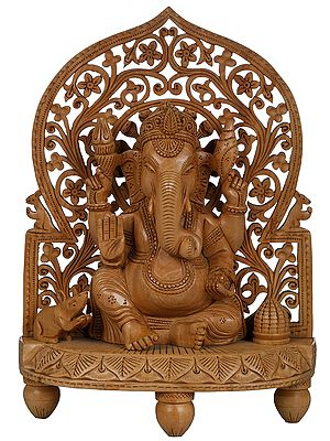 Bhagawan Ganesha on a Stylized Throne