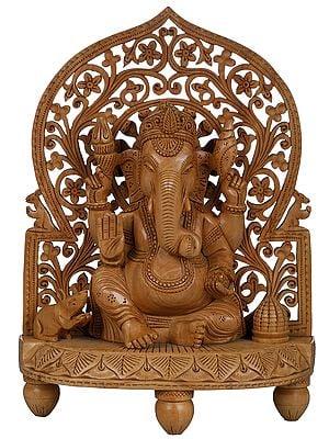 Bhagawan Ganesha on a Stylized Throne