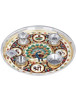 OM Shri Decorated Puja Thali