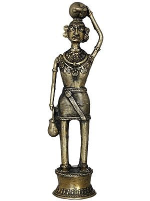Tribal Lady Carrying a Brinjal (Folk Statue From Bastar)