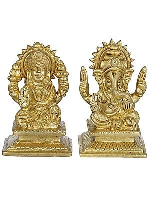 Lakshmi Ganesha - Pair of Small Statues