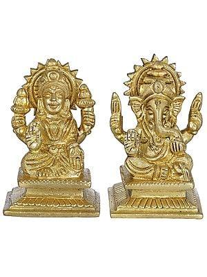Lakshmi Ganesha - Pair of Small Statues