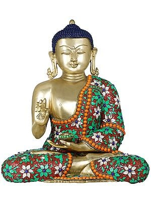 Tibetan Buddhist Lord Buddha with Floral Inlayed Robe