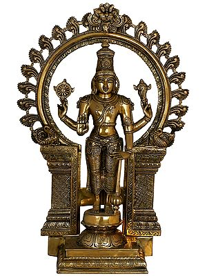 Chaturbhuja Standing Vishnu with Kirtimukha Ring