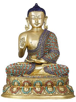 Tibetan Buddhist Shakyamuni Buddha on Double Lotus Seat