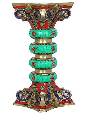 Pedestal Decorated with Colorful Inlay work