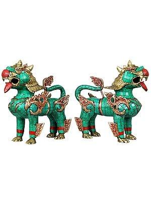 Temple Lion Pair