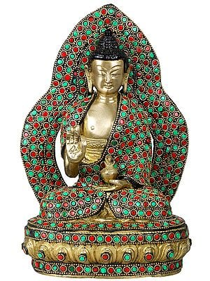 Lord Buddha Seated on Lotus Throne - Tibetan Buddhist