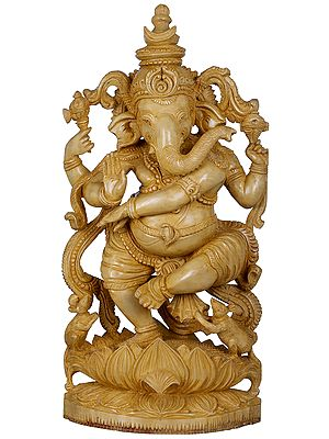 Lord Ganesha Performing Tandava on Lotus
