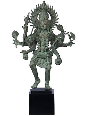 Goddess Kali Standing on Wooden Pedestal