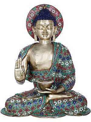 Tibetan Buddhist Lord Buddha, His Robe Decorated with Fine Inlay Work