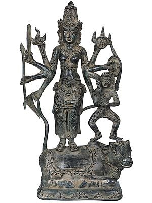 Goddess Durga with Bhairava Standing on Nandi
