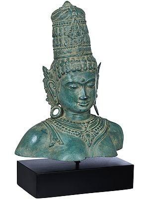 Goddess Parvati Bust on Wooden Stand